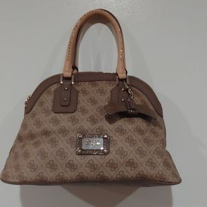 Tan Brown Logo Bag with bow Keychain
